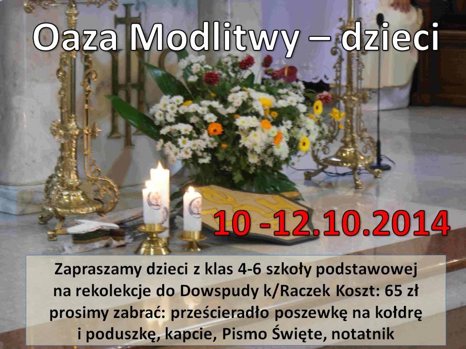 oaza modlitwy dzieci 10-12.10.2014